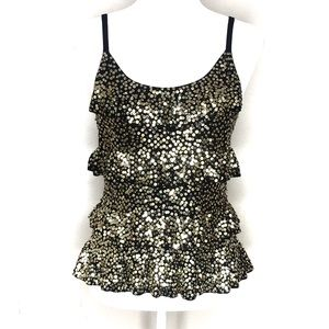 INC Black and Gold Sequin Tiered Top